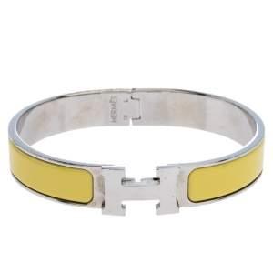 Hermès Clic H Yellow Enamel Palladium Plated Narrow Bracelet GM