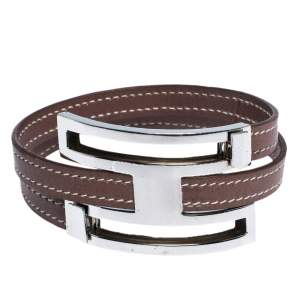 Hermes Pousse Pousse Leather Palladium Plated Adjustable H Bracelet