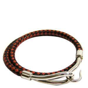 Hermes Jumbo Black/Brown Woven Leather Metal Necklace