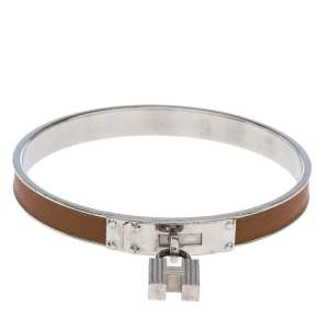 Hermes Kelly H Lock Cadena Charm Brown Leather Palladium Plated Bangle Bracelet