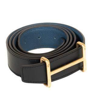 """حزام هيرمس """"إيديم"""" ذو وجهين جلد أسود و أزرق 95 سم"""