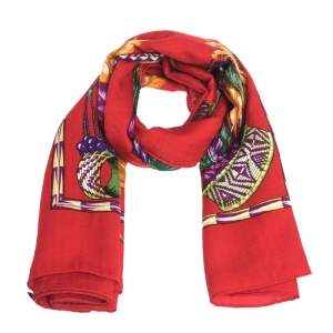 Hermes Red Brazil Print Cashmere & Silk Giant Shawl