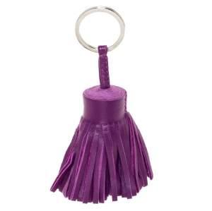 Hermes Purple Lambskin Leather Carmen Tassel Keychain