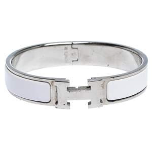 Hermes Clic H White Enamel Palladium Plated Narrow Bracelet PM