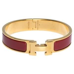 Hermes Clic H Rouge Enamel Gold Plated Narrow Bracelet PM