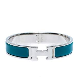 Hermès Clic H Blue Enamel Palladium Plated Narrow Bracelet PM