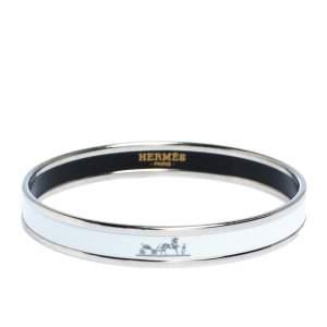 Hermes Caleche White Enamel Palladium Plated Narrow Bangle Bracelet