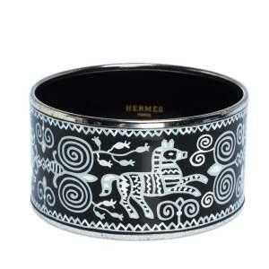 Hermes Black and White Enamel Palladium Plated Extra Wide Bangle Bracelet
