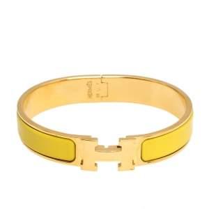 Hermès Clic H Yellow Enamel Gold Plated Narrow Bracelet GM