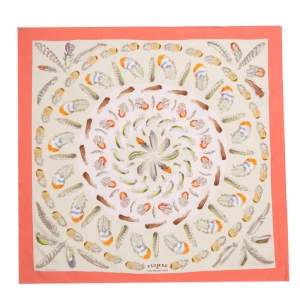 Hermes Coral & Beige Plumes II Print Silk Scarf
