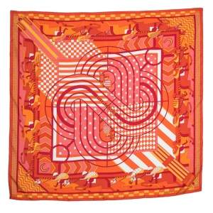 Hermes Orange Steeple Chase Print Silk Scarf