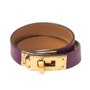 Hermes Kelly Double Tour Purple Leather Bracelet S