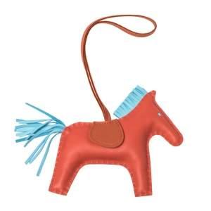 Hermes Feu/Fotiron/Blue Azur Leather GriGri Rodeo Horse Bag Charm MM