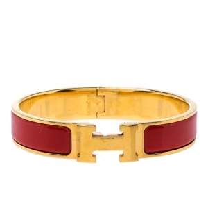Hermes Clic H Red Enamel Gold Plated Narrow Bracelet PM