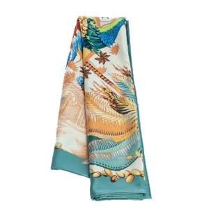 Hermès Green Mythiques Phoenix Silk Scarf