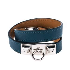 Hermes Rivale Teal Green Leather Double Tour Bracelet XS