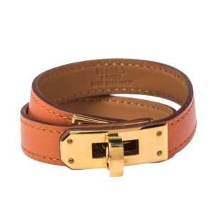 Hermes Kelly Orange Leather Double Tour Wrap Bracelet M