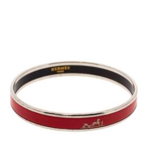 Hermès Red Enamel Calèche Narrow Bangle Bracelet