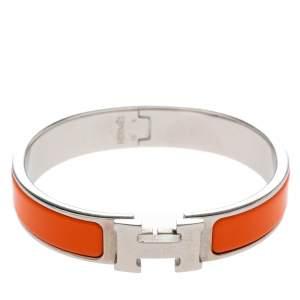 Hermes Clic H Orange Enamel Palladium Plated Narrow Bracelet PM