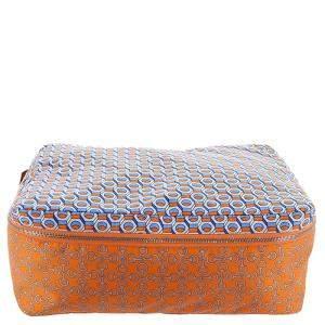 Hermes Orange/Blue Silk Housse de Voyage PM Travel Case