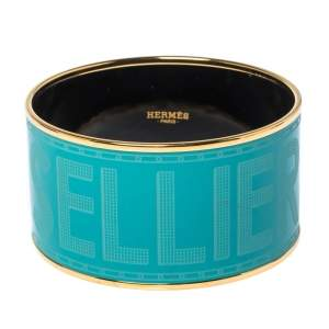 Hermes Bleu Maldives Enamel Extra Wide Sellier Bangle Bracelet
