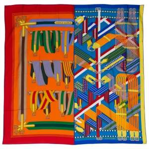 Hermes Rouge/Bougainvillier Double Sangle Silk Scarf