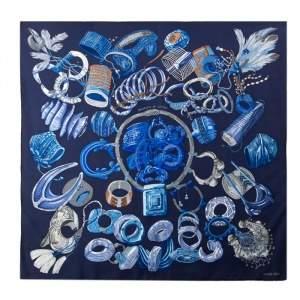 Hermès Dark Blue Bracelets de Lumière Silk Scarf