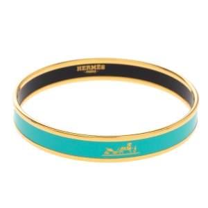 Hermès Calèche Green Enamel Gold Plated Bangle Bracelet
