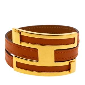 Hermes Pousse Pousse Orange Leather Gold Plated Adjustable H Bracelet