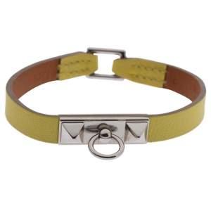 Hermès Micro Rivale Leather Palladium Plated Bracelet S