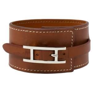 Hermès Tan Brown Leather Wide Hapi Bracelet M