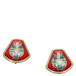 Hermes  Vintage Enamel Clip-On Earrings