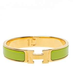 Hermès Clic H Lime Green Enamel Gold Plated Narrow Bracelet PM