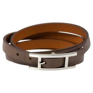 Hermès Taupe Leather Hapi Quad Tour Wrap Bracelet M