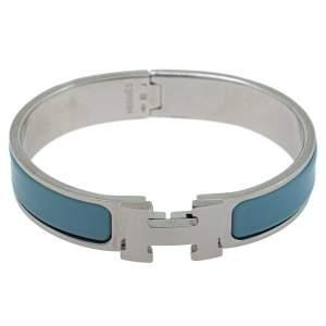 Hermès Clic H Blue Enamel Palladium Plated Narrow Bracelet PM
