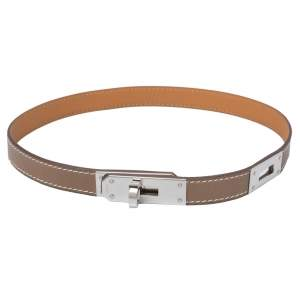 Hermes Kelly Leather Palladium Plated Choker Necklace