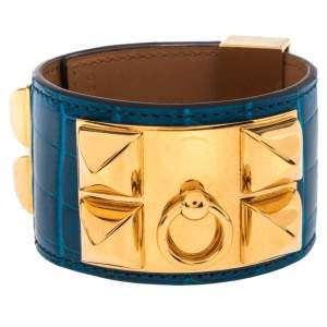 Hermès Blue Alligator Leather Collier de Chien Cuff Bracelet S