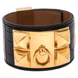 Hermès Black Alligator Leather Collier de Chien Cuff Bracelet S