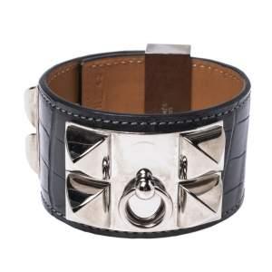 Hermès Graphite Alligator Leather Collier de Chien Cuff Bracelet S
