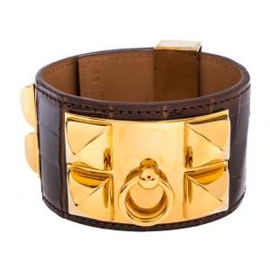 Hermès Brown Alligator Leather Collier de Chien Cuff Bracelet S