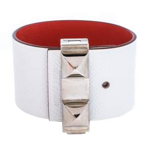 Hermès Bicolor Leather Palladium Plated Illusion Bracelet PM