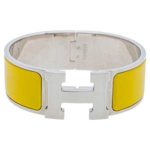 Hermès Clic Clac H Yellow Enamel Palladium Plated Wide Bracelet PM