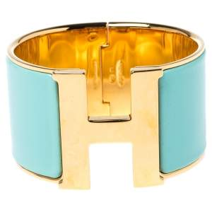 Hermès Clic Clac H Mint Green Enamel Gold Plated Extra Wide Bracelet PM