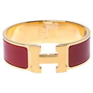 Hermes Clic Clac H Rouge Enamel Gold Plated Wide Bracelet GM