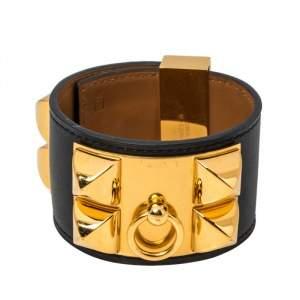 Hermès Black Leather Collier de Chien Cuff Bracelet S