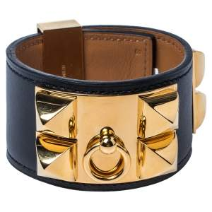 Hermès Black Leather Collier de Chien Cuff Bracelet S