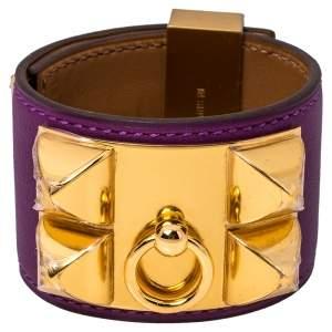 Hermès Anemone Leather Collier de Chien Cuff Bracelet S
