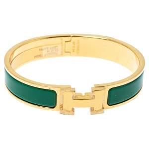 Hermès Clic H Vert Sapin Enamel Gold Plated Narrow Bracelet GM