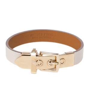 Hermès Java 10 White Leather Gold Plated Bracelet XS