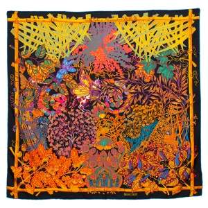 Hermès Black & Orange Mythes et Metamorphoses Silk Scarf